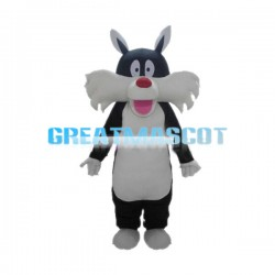 Black & White Bearded Dog Mascot Costume