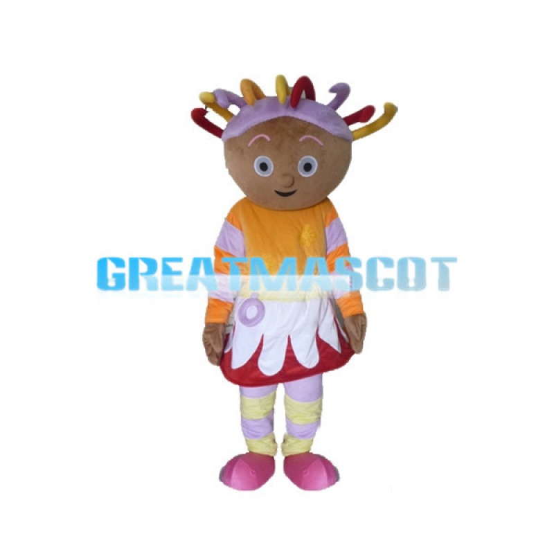 Colorful Hair Round Cake Face Doll Mascot Costume