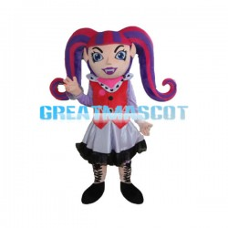 Woman Clown With Long Claw Braid Mascot Costume
