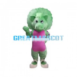 Greeting Cartoon Green Dinosaur Mascot Costume