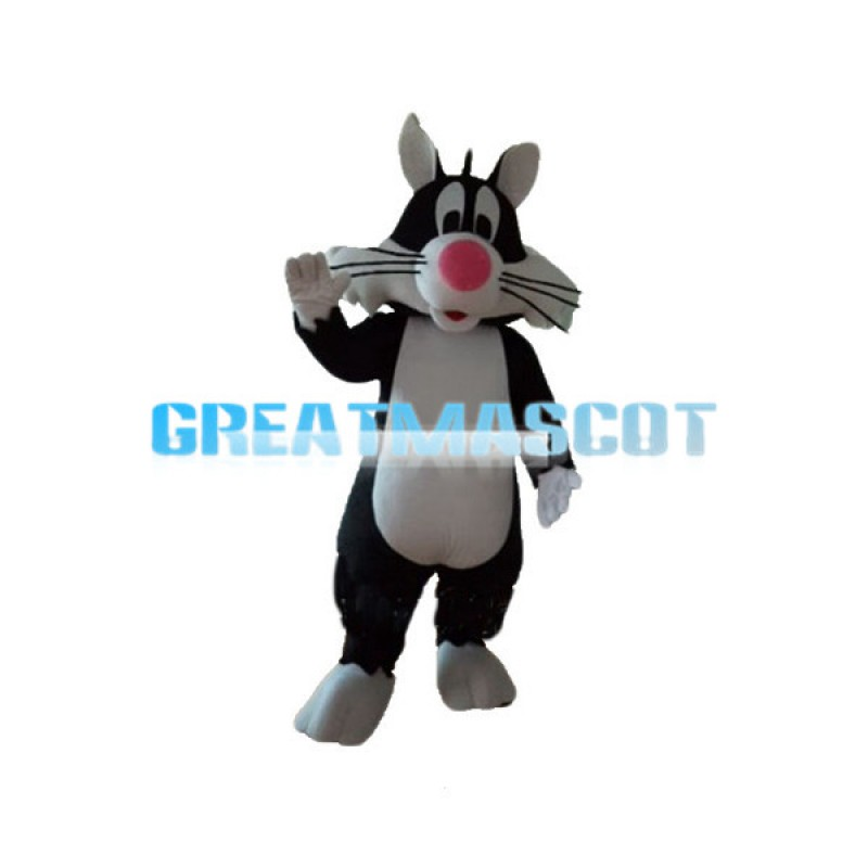 Pink Nose Long Beard Cat Mascot Costume