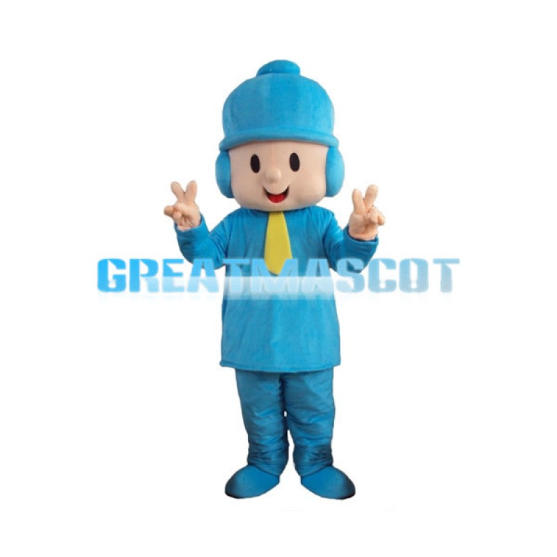 Pocoyo Boy In Blue Hat Mascot Costume