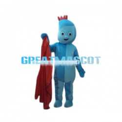 Strange Shaped Head Light Blue Doll Mascot Costume