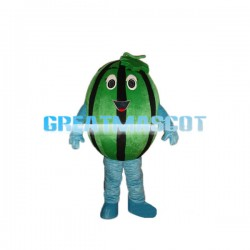 Ripe Watermelon With Green Leaf Mascot Costume