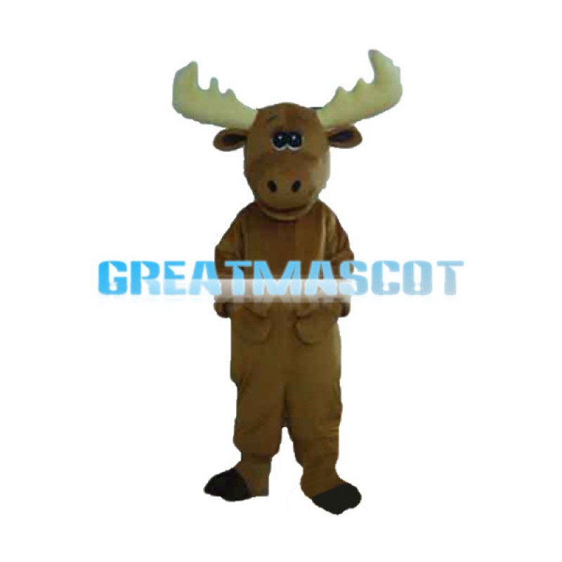 Beige Antlers Mouse Mascot Costume