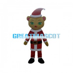 Bright Green Eyes Christmas Cat Mascot Costume