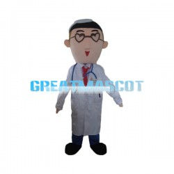 Male Doctor With Heart Shaped Glasses Mascot Costume