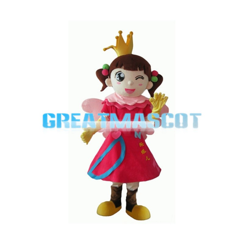 Little Girl With Crown Mascot Costume