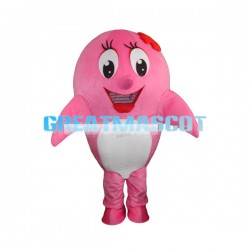 Big Shiny Eyes Pink Dolphin Mascot Costume