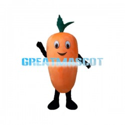 Cartoon Carrot With Leaves Mascot Costume