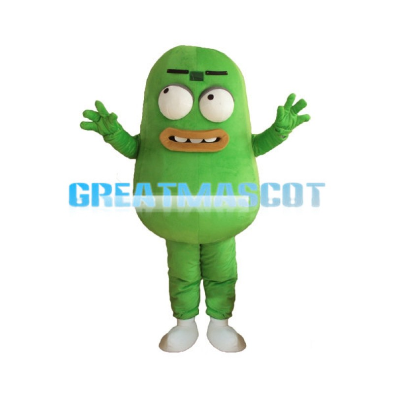 Protruding Eyes Green Bean Mascot Costume
