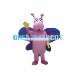 Pink Butterfly With Blue Wings Mascot Costume