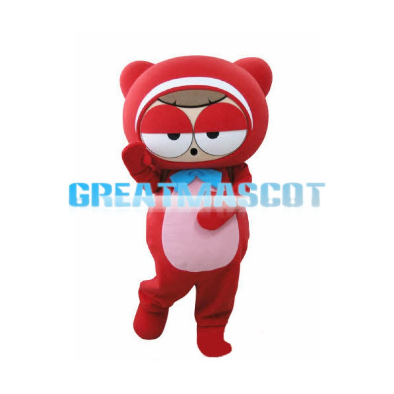Pink Belly Cute Red Bear Mascot Costume