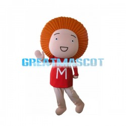 Orange Hair Child With Red M Shirt Mascot Costume