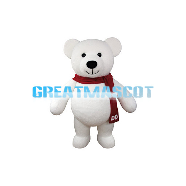 White Teddy Bear With Red Scarf Mascot Costume