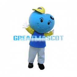 Blue Heart Shaped Head Doll Mascot Costume