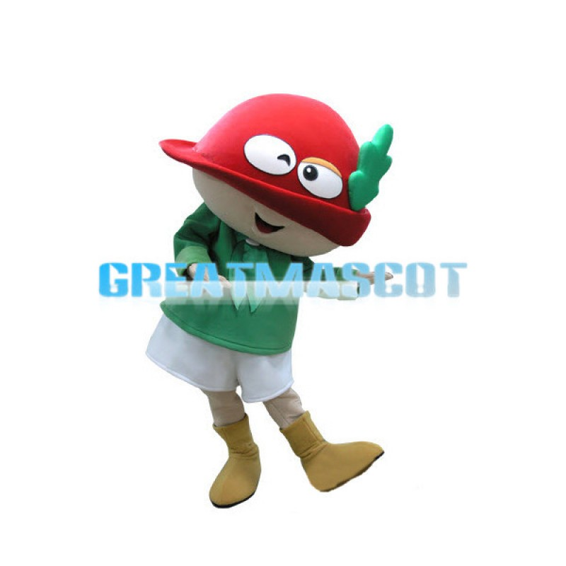 Smiling Doll Wearing Red Bowler Hat Mascot Costume
