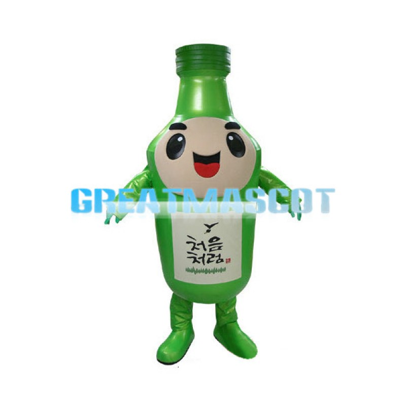 Green Cartoon Sake Bottle Mascot Costume