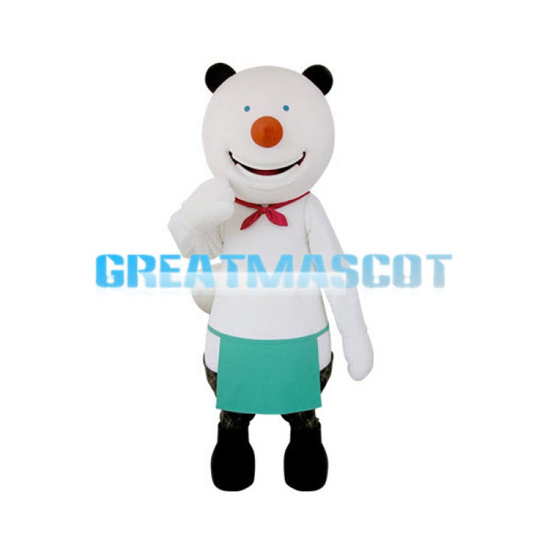Happy White Bear With Green Apron Mascot Costume