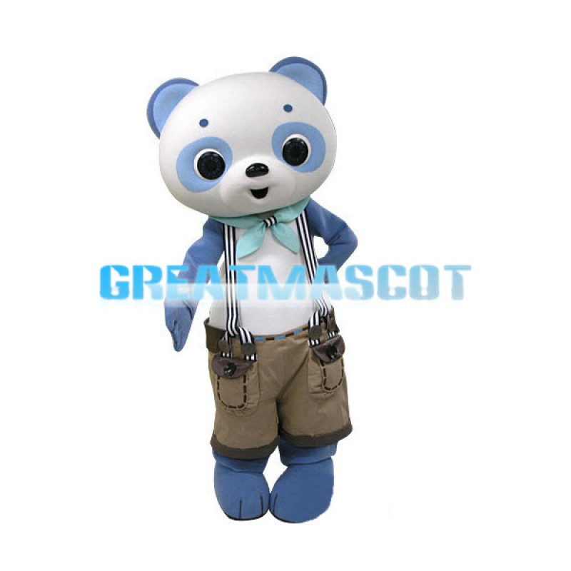 Tall Bear With Suspender Shorts Mascot Costume