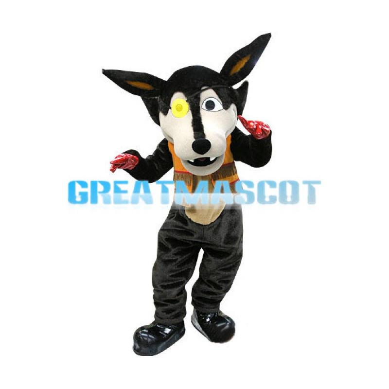 Black Wolf With Blindfold Mascot Costume