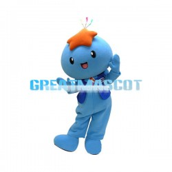 Blue Doll With Orange Starfish On Head Mascot Costume