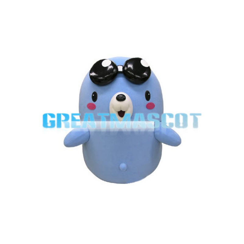 Blue Round Body Seal Mascot Costume