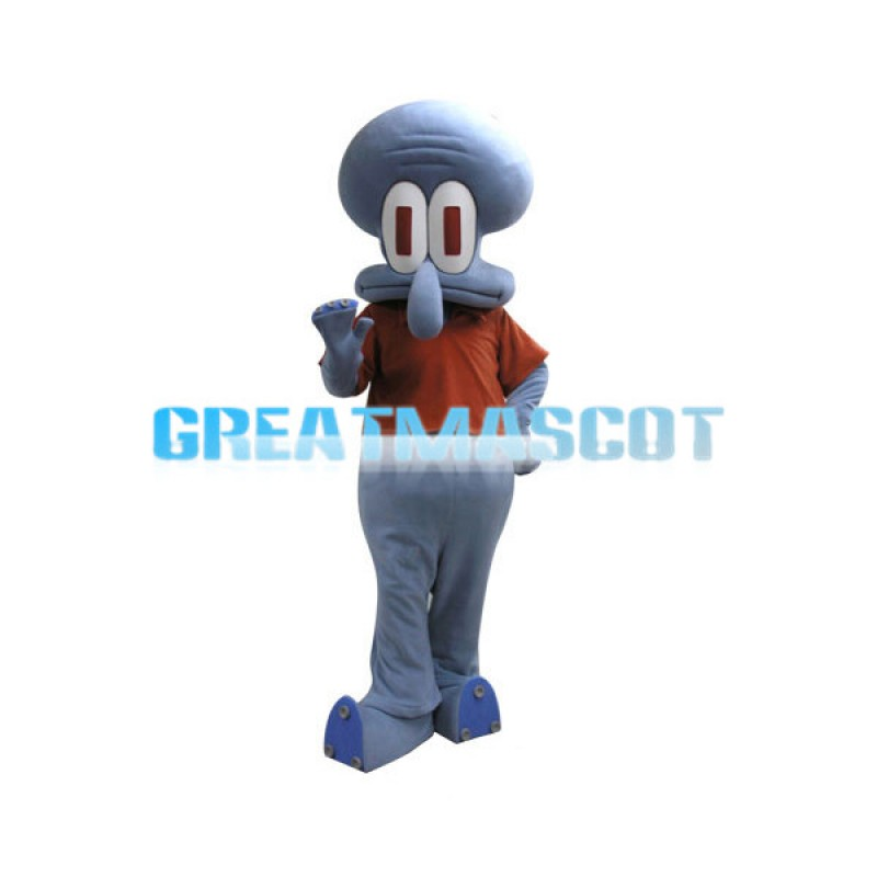 Big Nose Bald Head Squidward Tentacles Mascot Costume