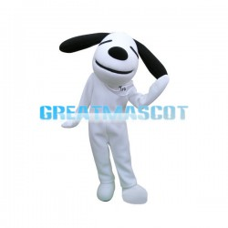 Long Ears Smirking White Dog Mascot Costume