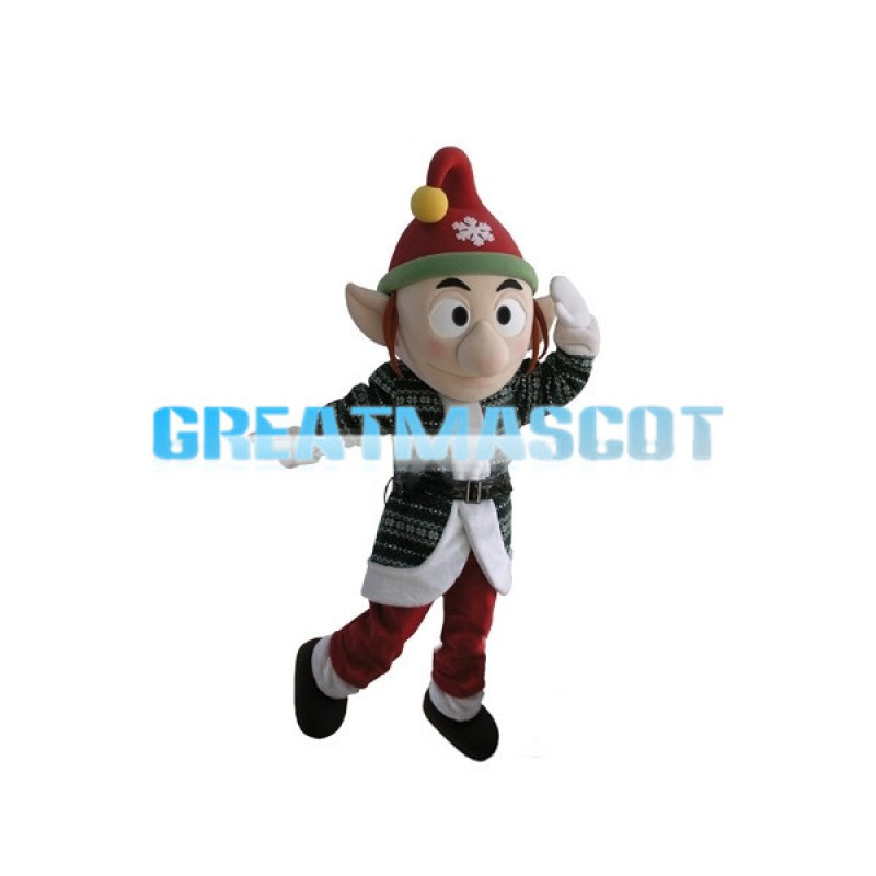Big Nose Elf With Christmas Hat Mascot Costume