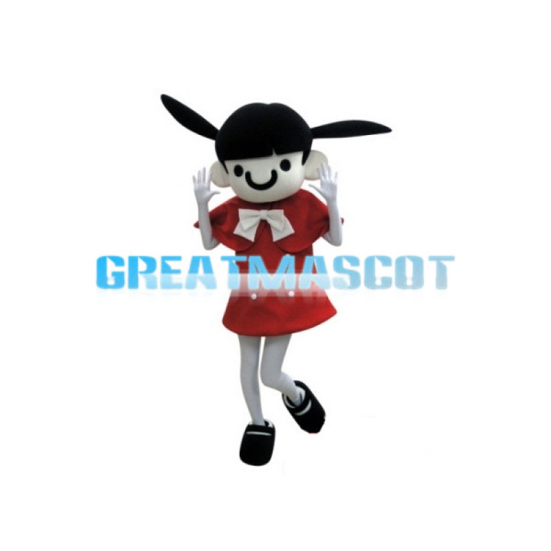 Beautiful Girl With Double Ponytails Mascot Costume