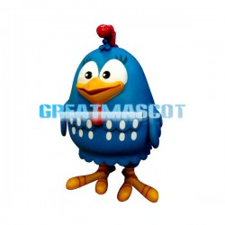 Round Body Blue Bird Mascot Costume