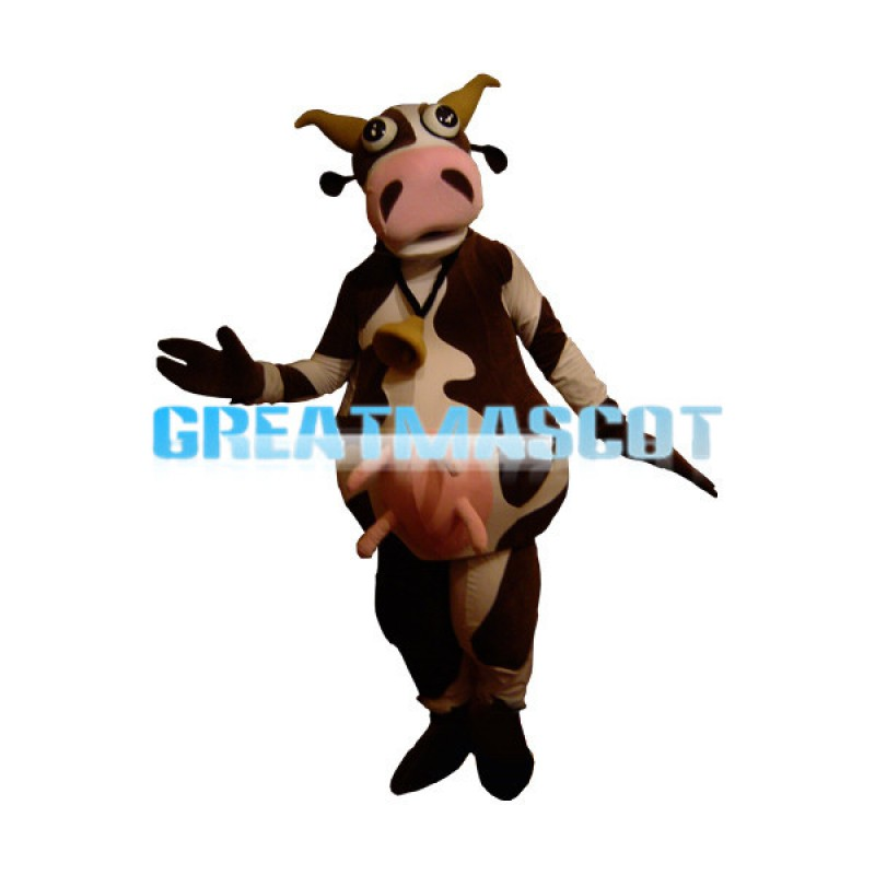 Suckling Cow Wearing Bell Mascot Costume