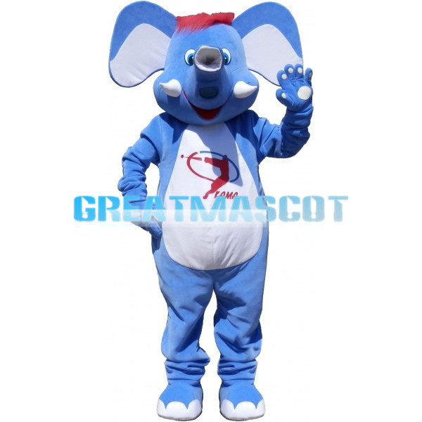 Polite Greeting Blue & White Elephant Mascot Costume