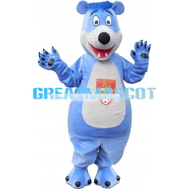 Pleasant Cute Blue Bear Mascot Costume