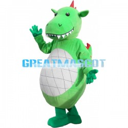 Special Look Big Belly Green Dinosaur Mascot Costume