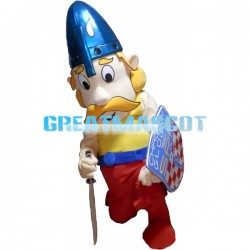 Brave Guard Holding Weapon And Shield Mascot Costume