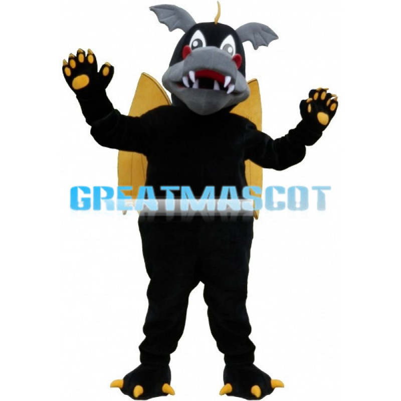 Black Evil Dragon With Yellow Wings Mascot Costume