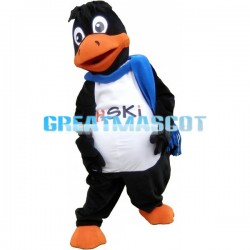 Adult Fancy Black Bird With Blue Scarf Mascot Costume