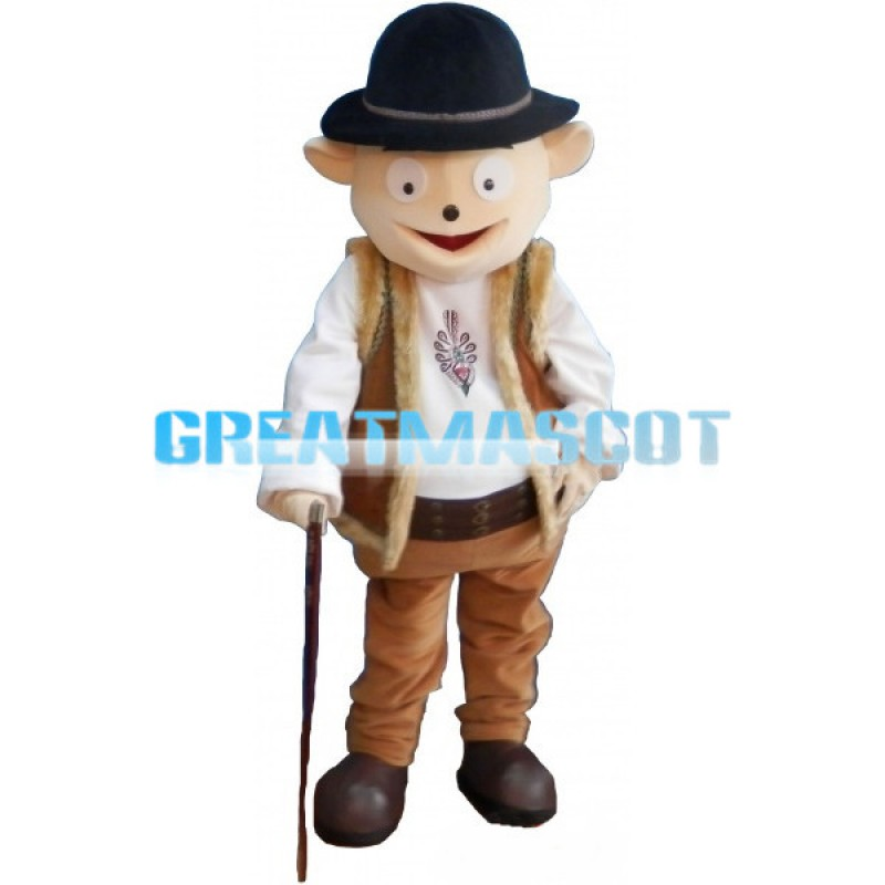 Kind Grandpa With Crutch Mascot Costume