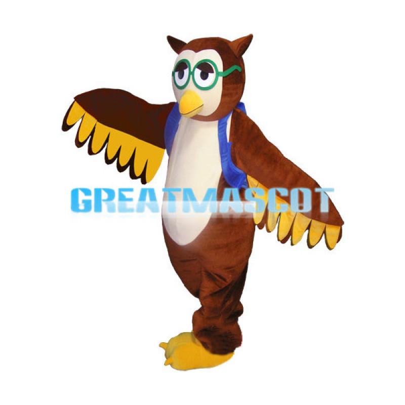 Brown Owl With Green Glasses And Blue Bag Mascot Costume