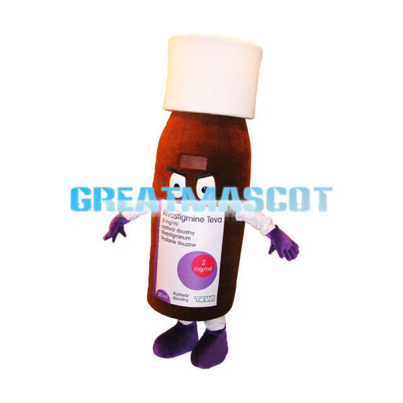 Brown Capsule Medicine Bottle Mascot Costume