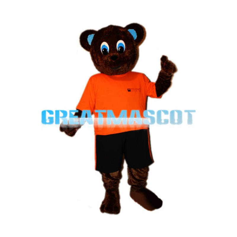 Blue Eyes Dark Brown Bear Mascot Costume
