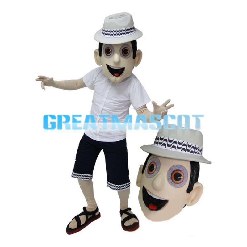 Casual Man With Woven Hat Mascot Costume