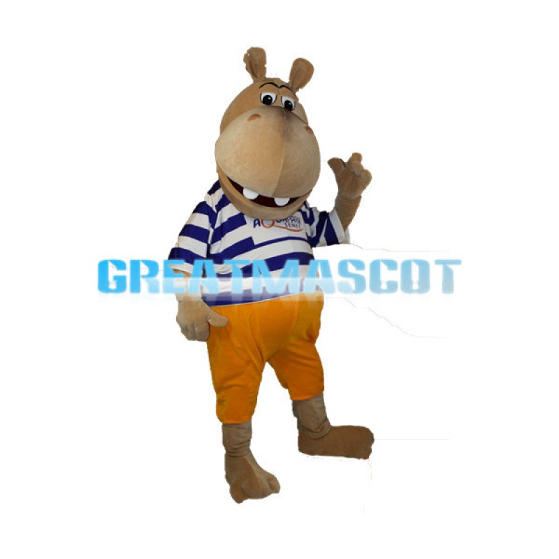 Cartoon Smiling Hippo In Striped Shirt Mascot Costume