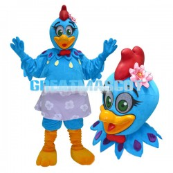 Blue Chicken With Flower Skirt Mascot Costume