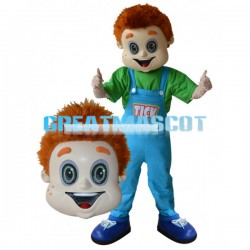 Excited Orange Hair Boy Mascot Costume