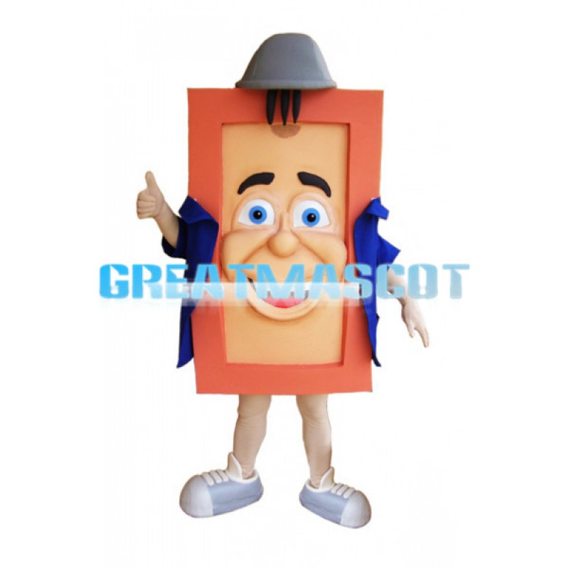 Square Body Doll With Blue Coat Mascot Costume