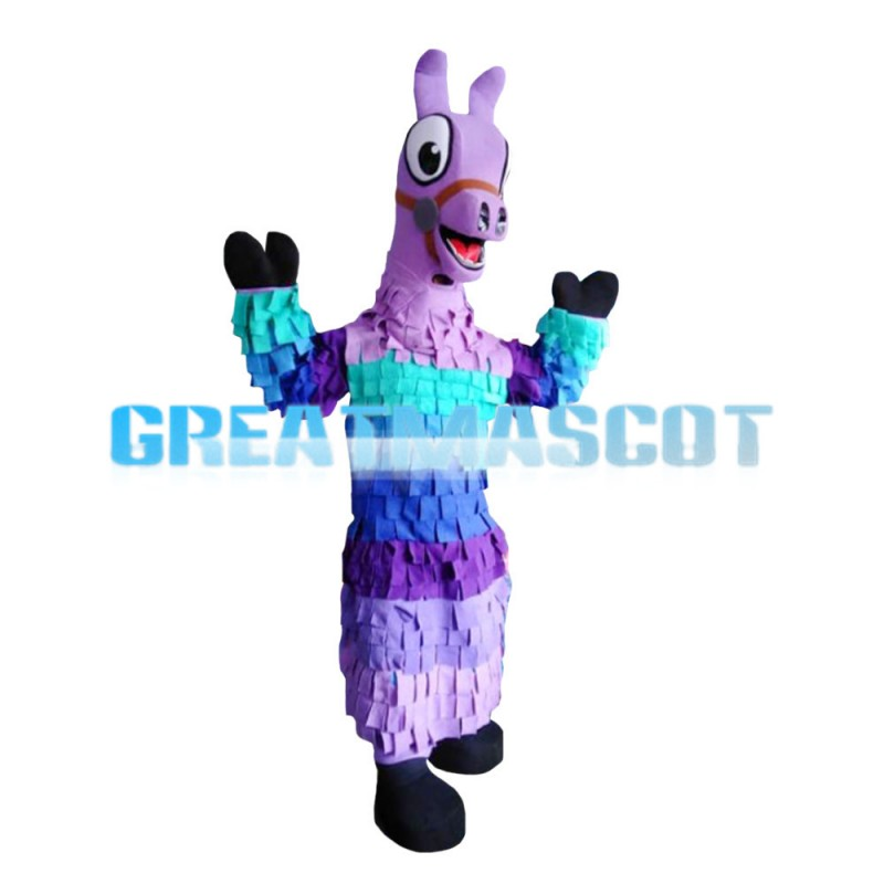Purple Horse With Colorful Scales Mascot Costume