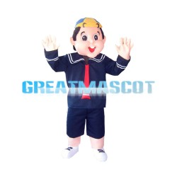 Big Head Fat Child With School Uniform Mascot Costume